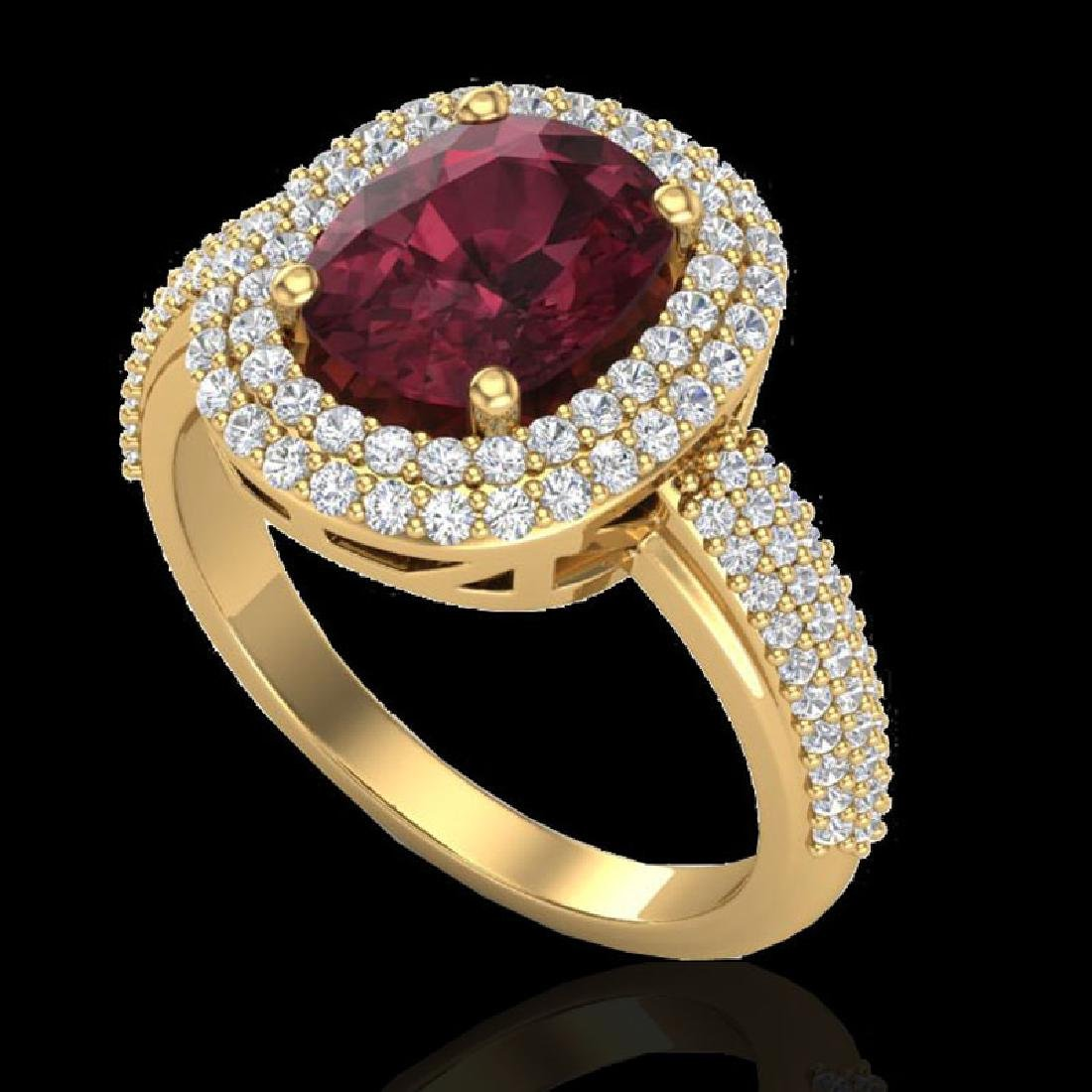 3.10 CTW Garnet & Micro Pave VS/SI Diamond Halo Ring - 2