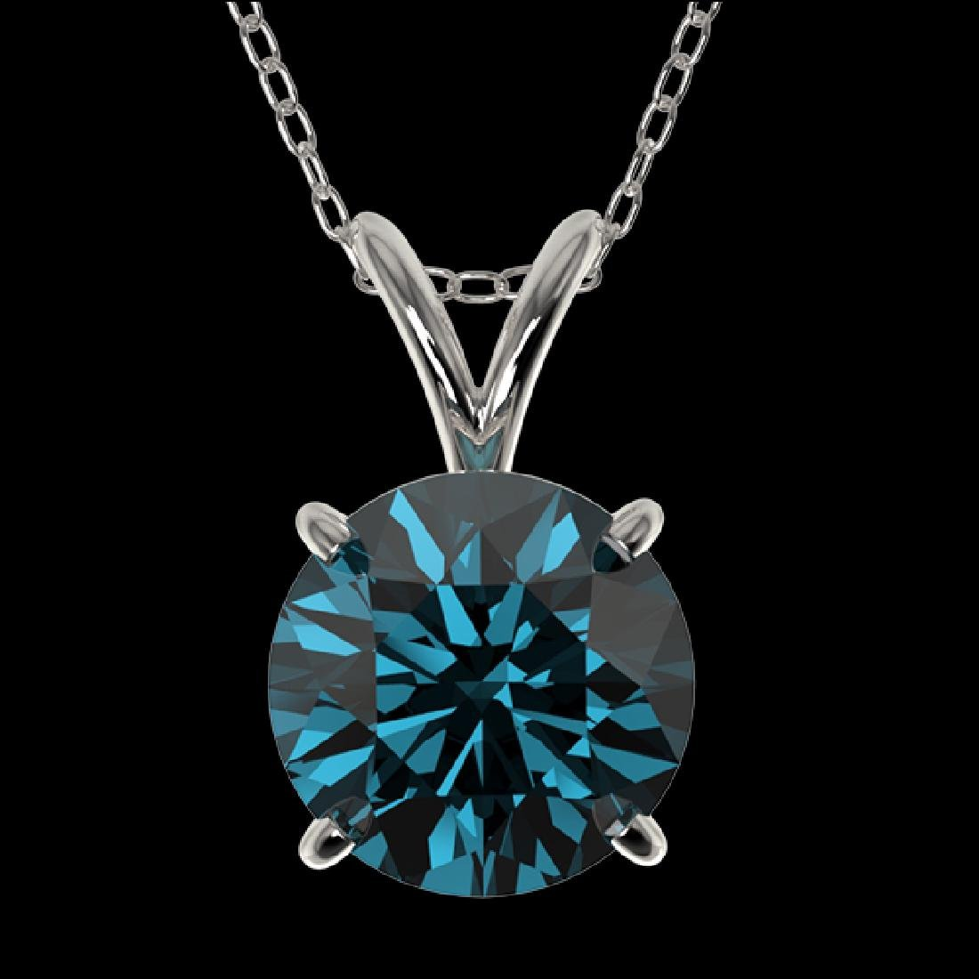 1.53 CTW Certified Intense Blue SI Diamond Solitaire