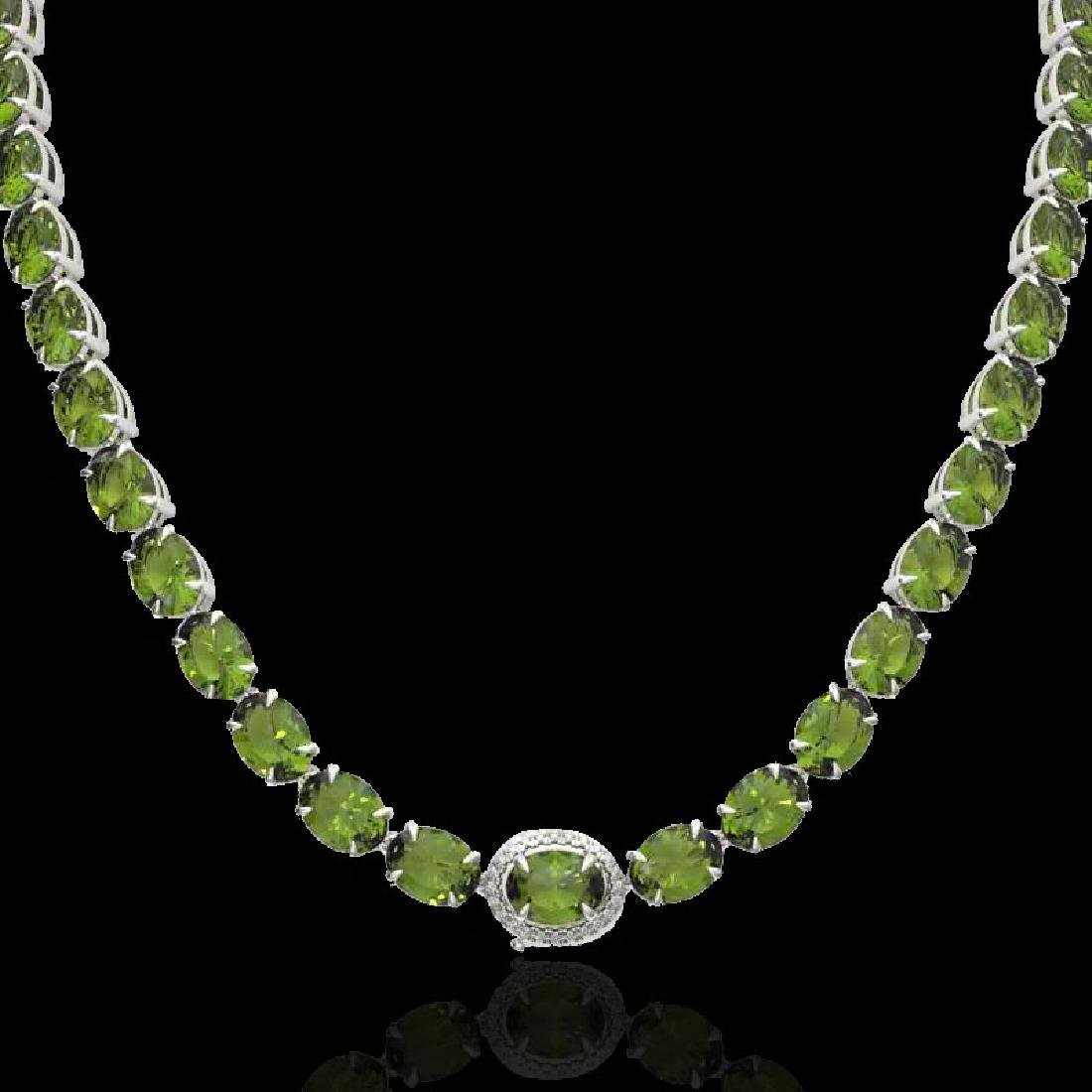 35.25 CTW Green Tourmaline & VS/SI Diamond Tennis Micro - 2
