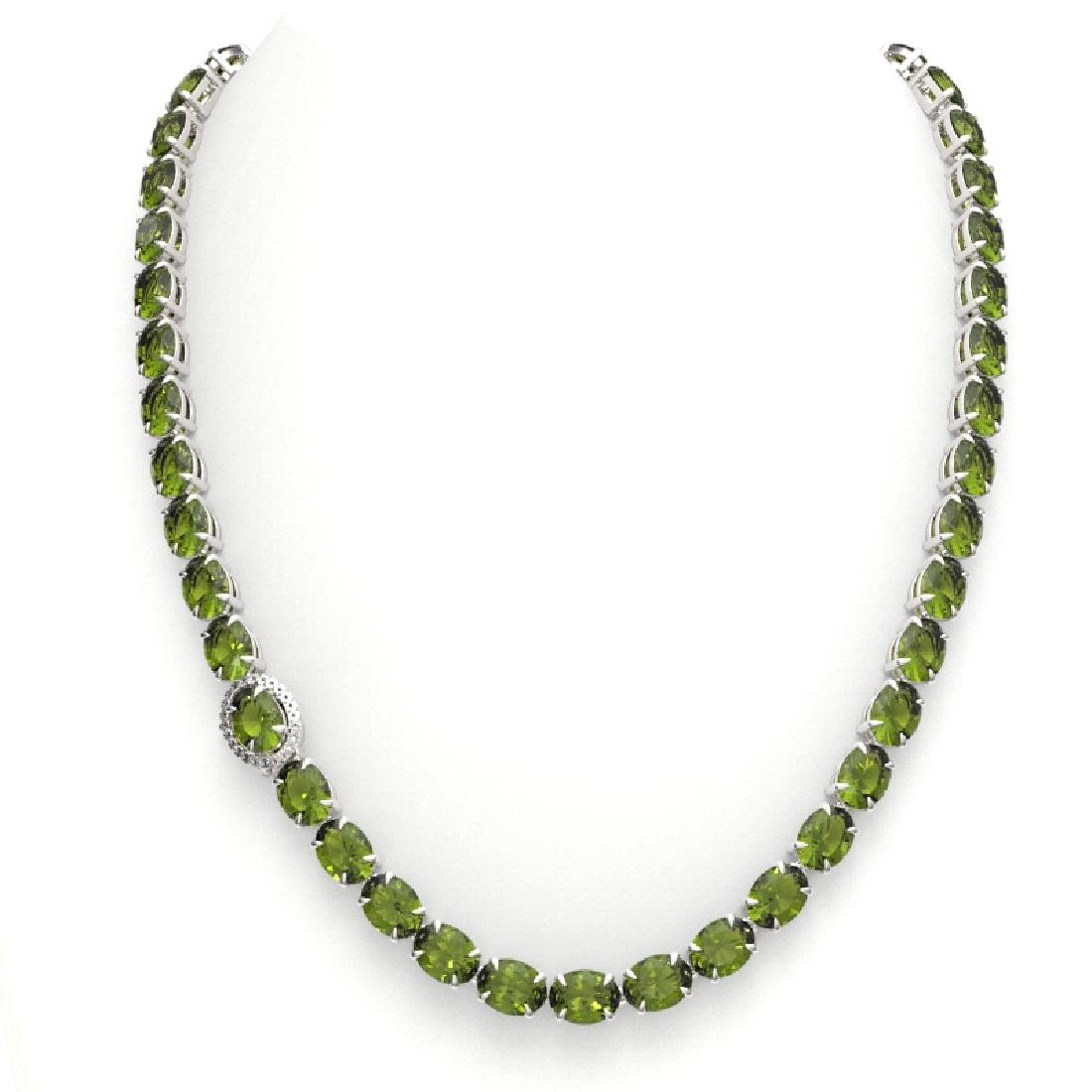 35.25 CTW Green Tourmaline & VS/SI Diamond Tennis Micro - 3