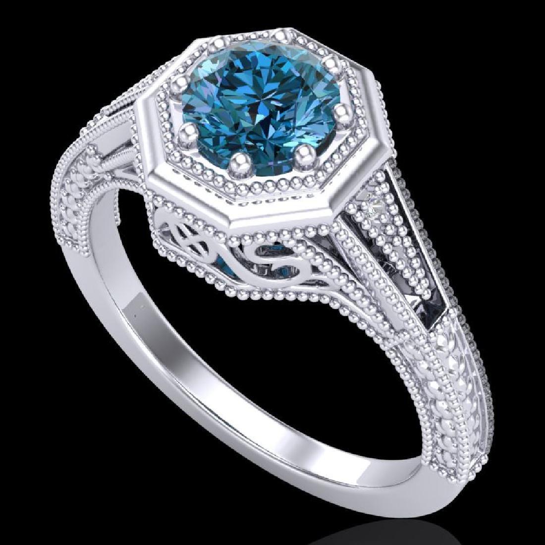 0.84 CTW Fancy Intense Blue Diamond Solitaire Art Deco