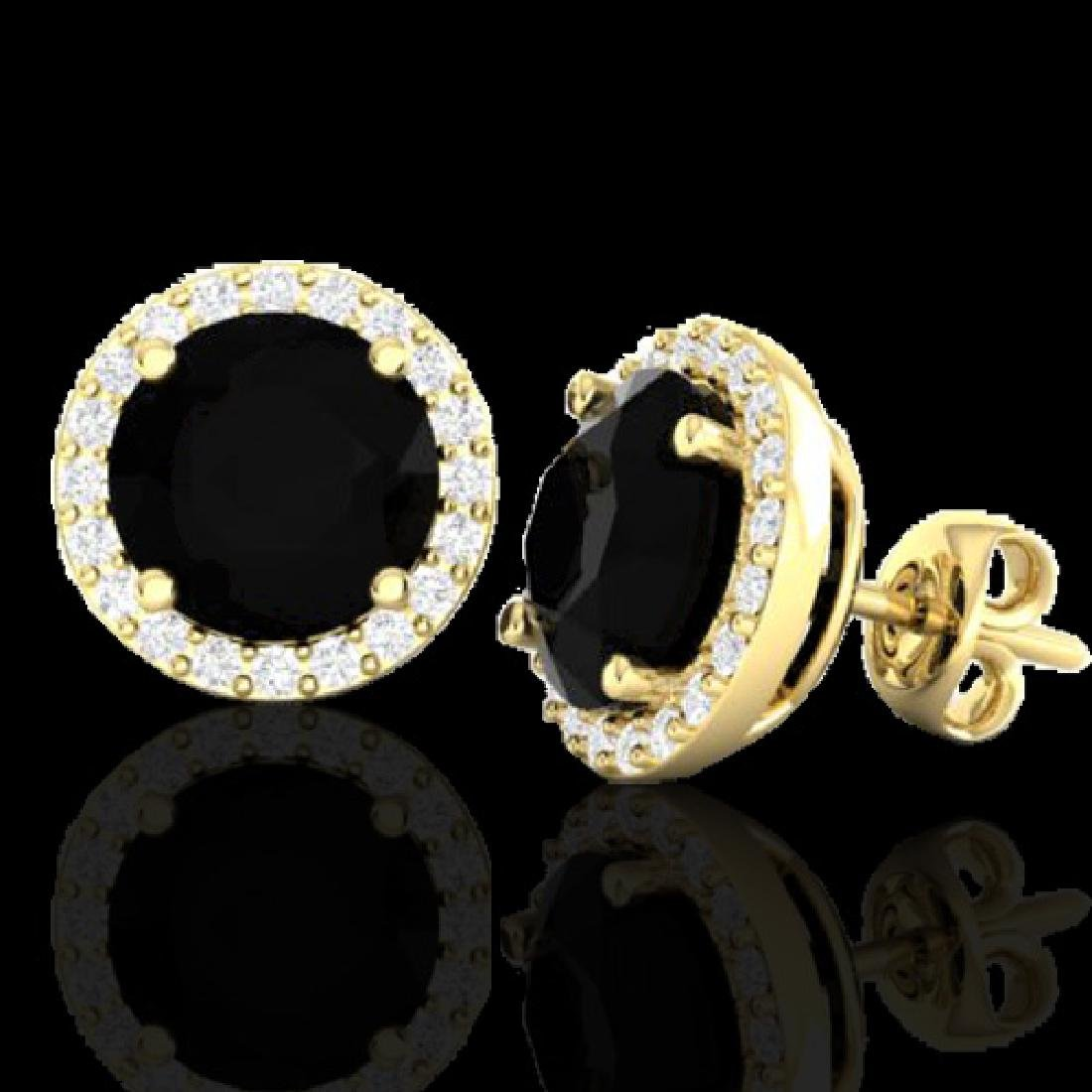 4 CTW Halo Black VS/SI Diamond Micro Pave Earrings 18K - 2