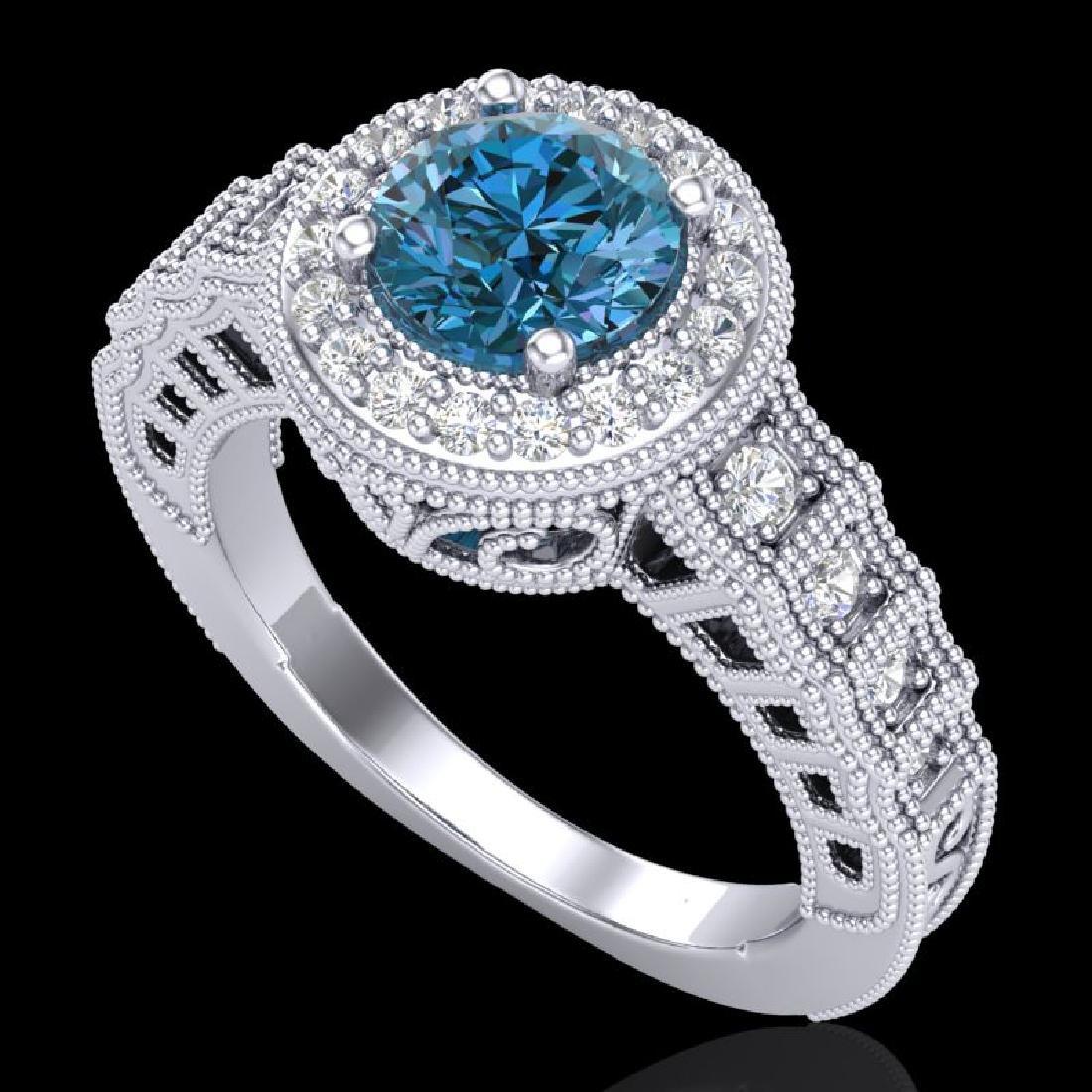 1.53 CTW Fancy Intense Blue Diamond Solitaire Art Deco