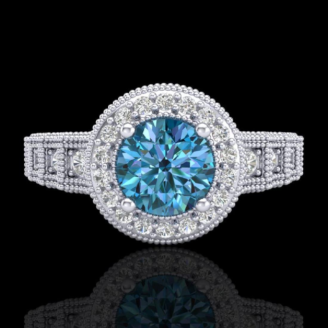 1.53 CTW Fancy Intense Blue Diamond Solitaire Art Deco - 2