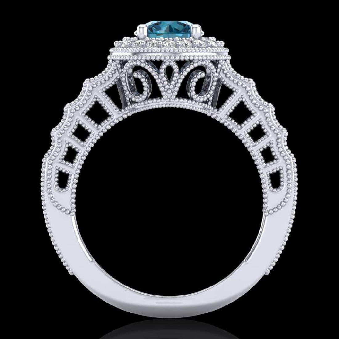 1.53 CTW Fancy Intense Blue Diamond Solitaire Art Deco - 3