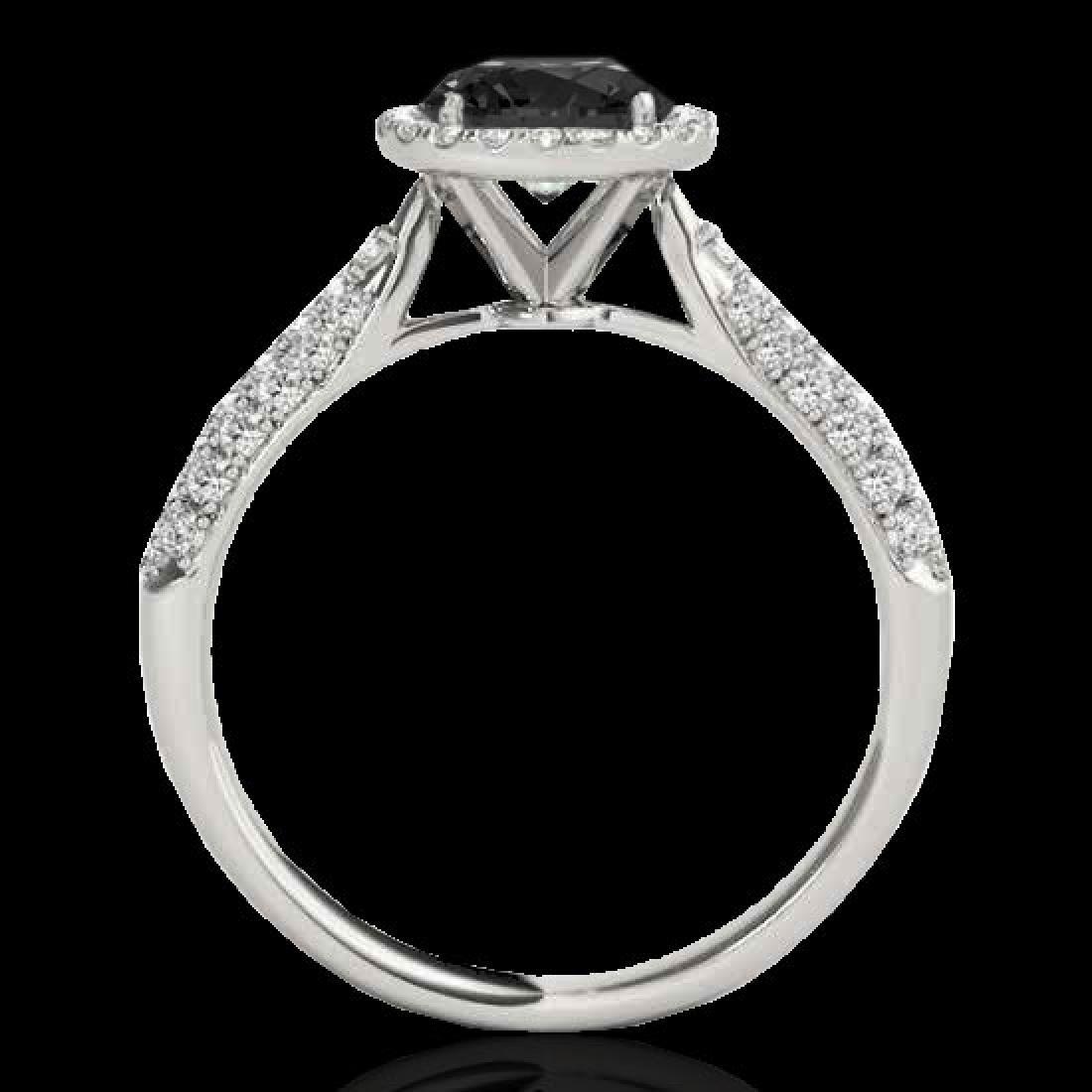 1.4 CTW Certified VS Black Diamond Solitaire Halo Ring - 2