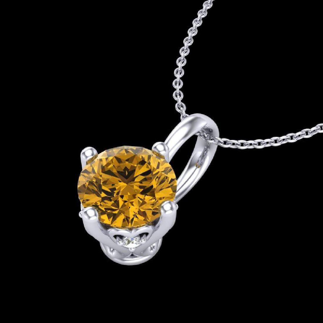 0.82 CTW Intense Fancy Yellow Diamond Art Deco Stud - 2