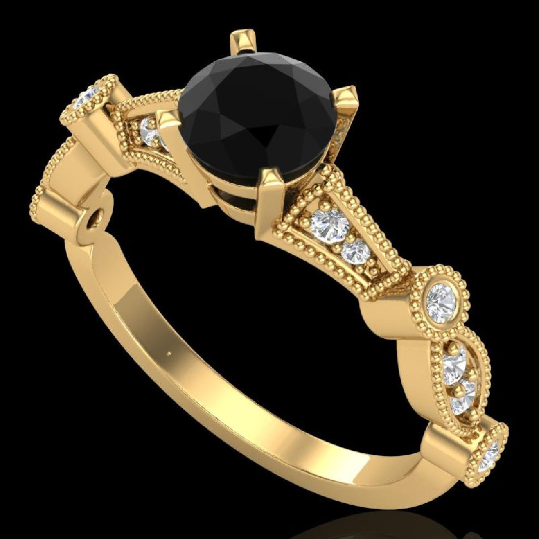1.03 CTW Fancy Black Diamond Solitaire Engagement Art