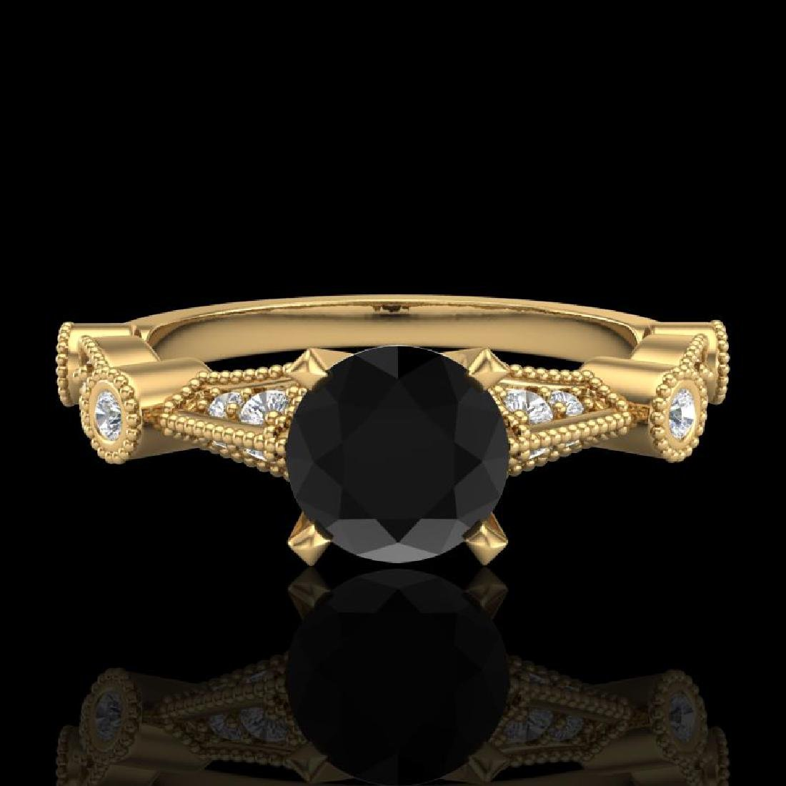 1.03 CTW Fancy Black Diamond Solitaire Engagement Art - 2