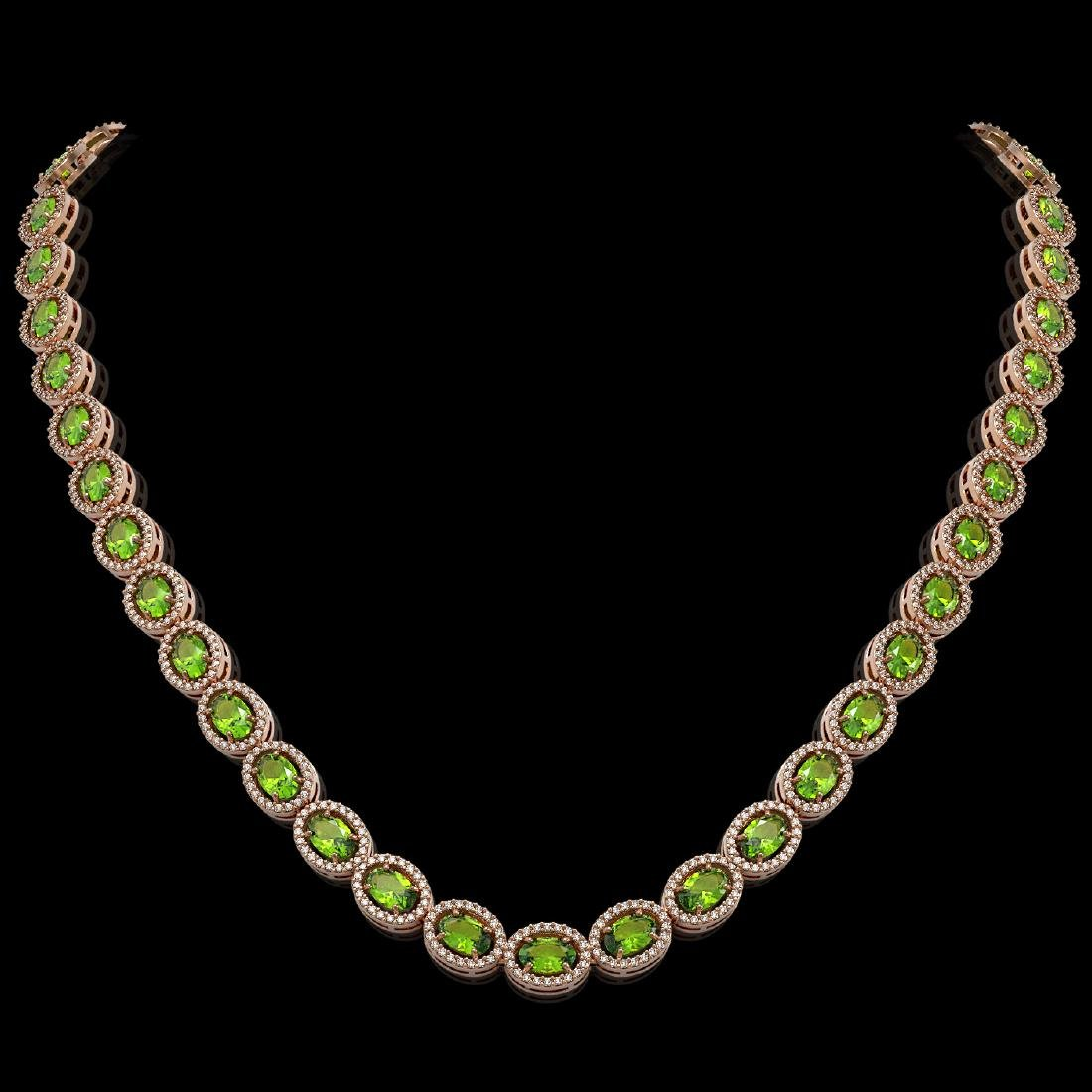 31.1 CTW Peridot & Diamond Halo Necklace 10K Rose Gold