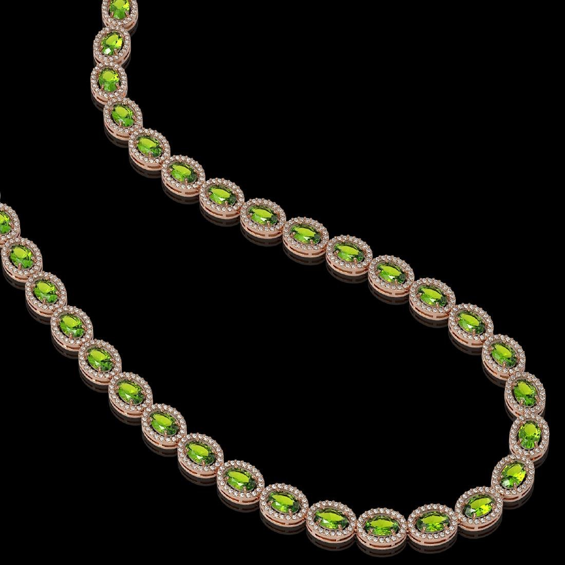 31.1 CTW Peridot & Diamond Halo Necklace 10K Rose Gold - 2