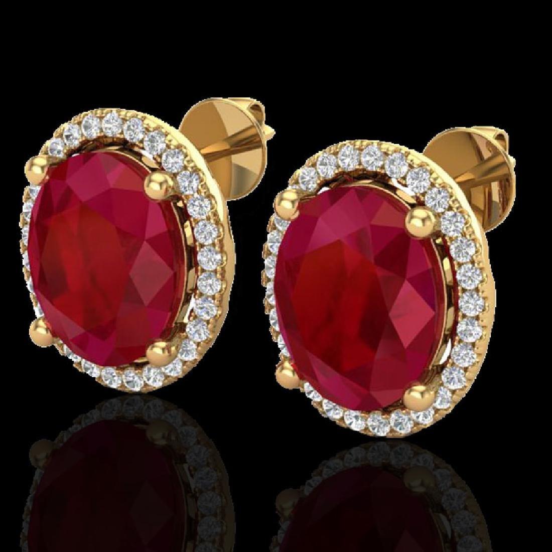 6 CTW Ruby & Micro Pave VS/SI Diamond Earrings Halo 18K