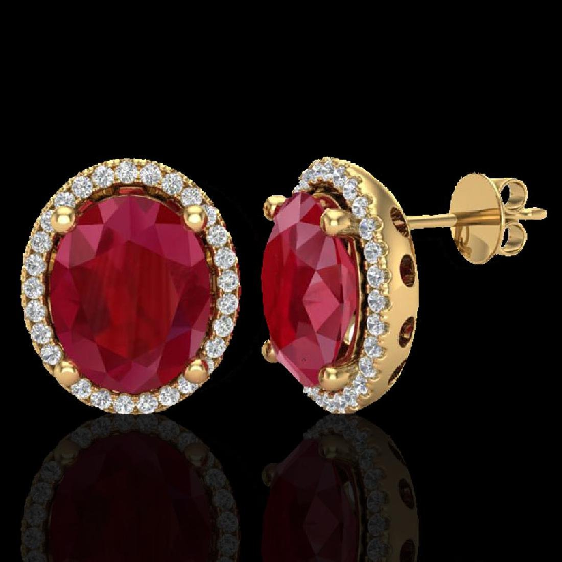 6 CTW Ruby & Micro Pave VS/SI Diamond Earrings Halo 18K - 2