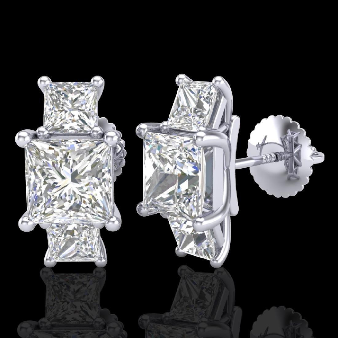 3.08 CTW Princess VS/SI Diamond Art Deco Stud Earrings - 2