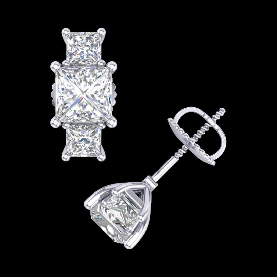 3.08 CTW Princess VS/SI Diamond Art Deco Stud Earrings - 3