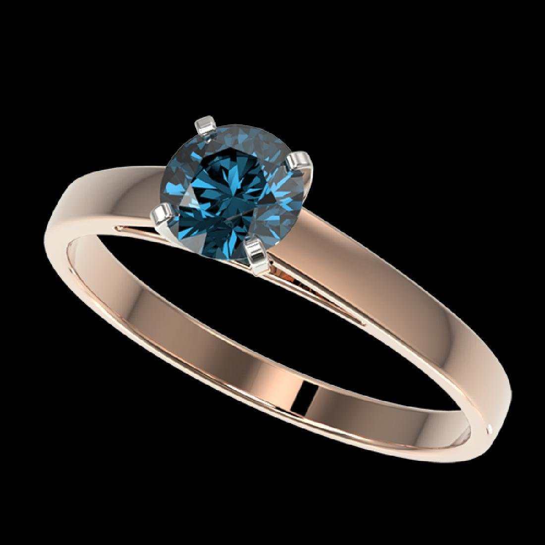 0.73 CTW Certified Intense Blue SI Diamond Solitaire
