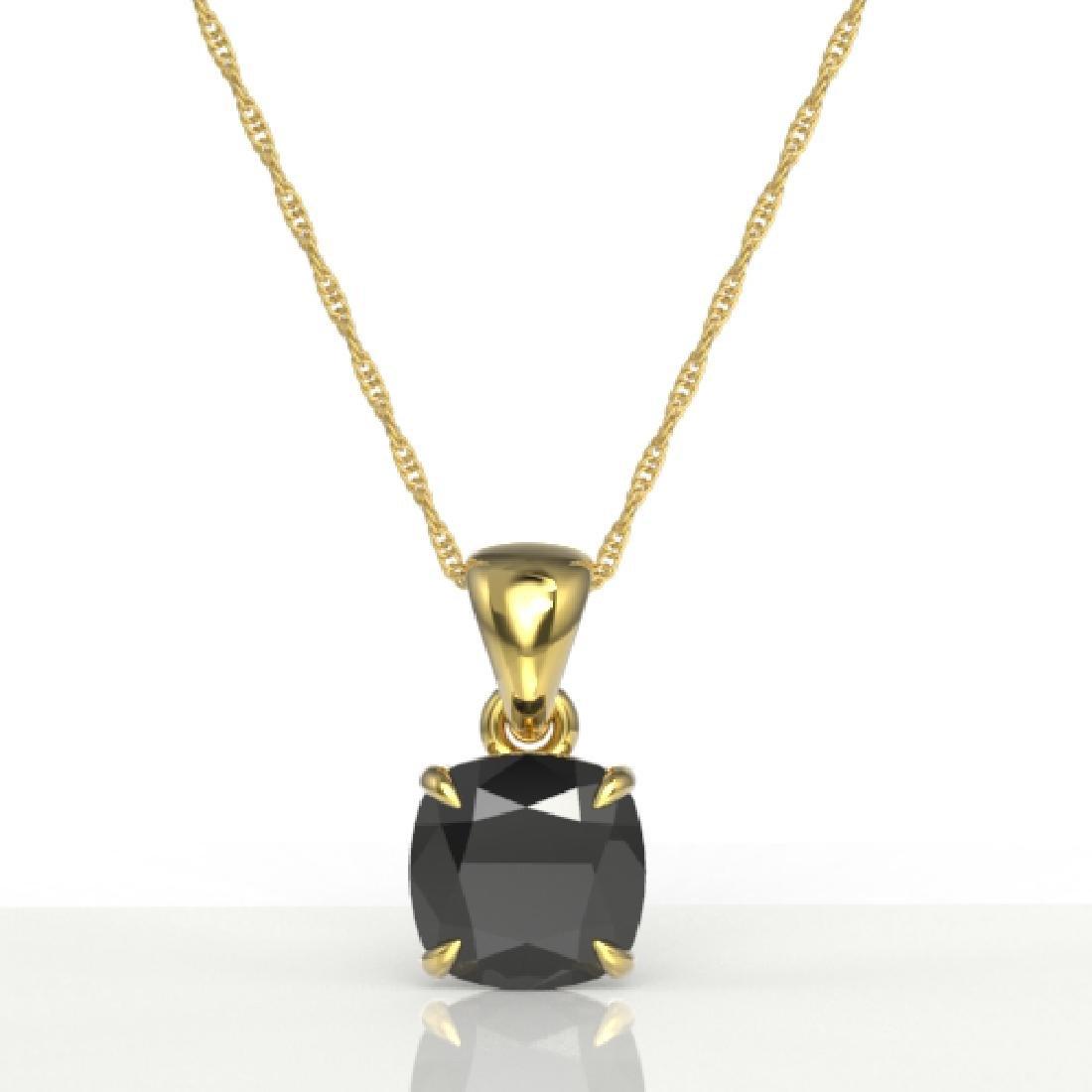 3 CTW Cushion Cut Black VS/SI Diamond Designer Necklace - 2