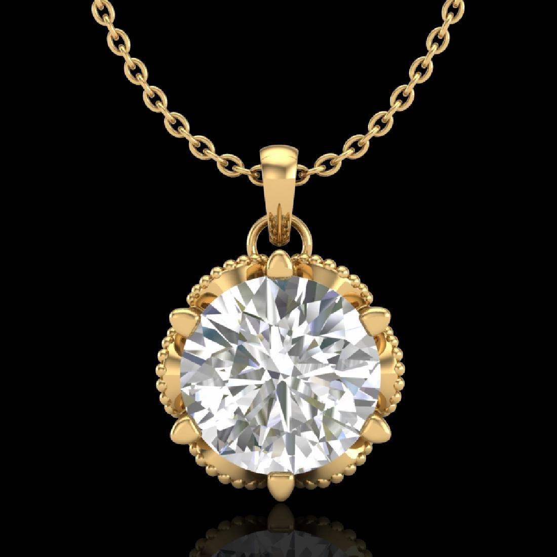 1.36 CTW VS/SI Diamond Solitaire Art Deco Necklace 18K