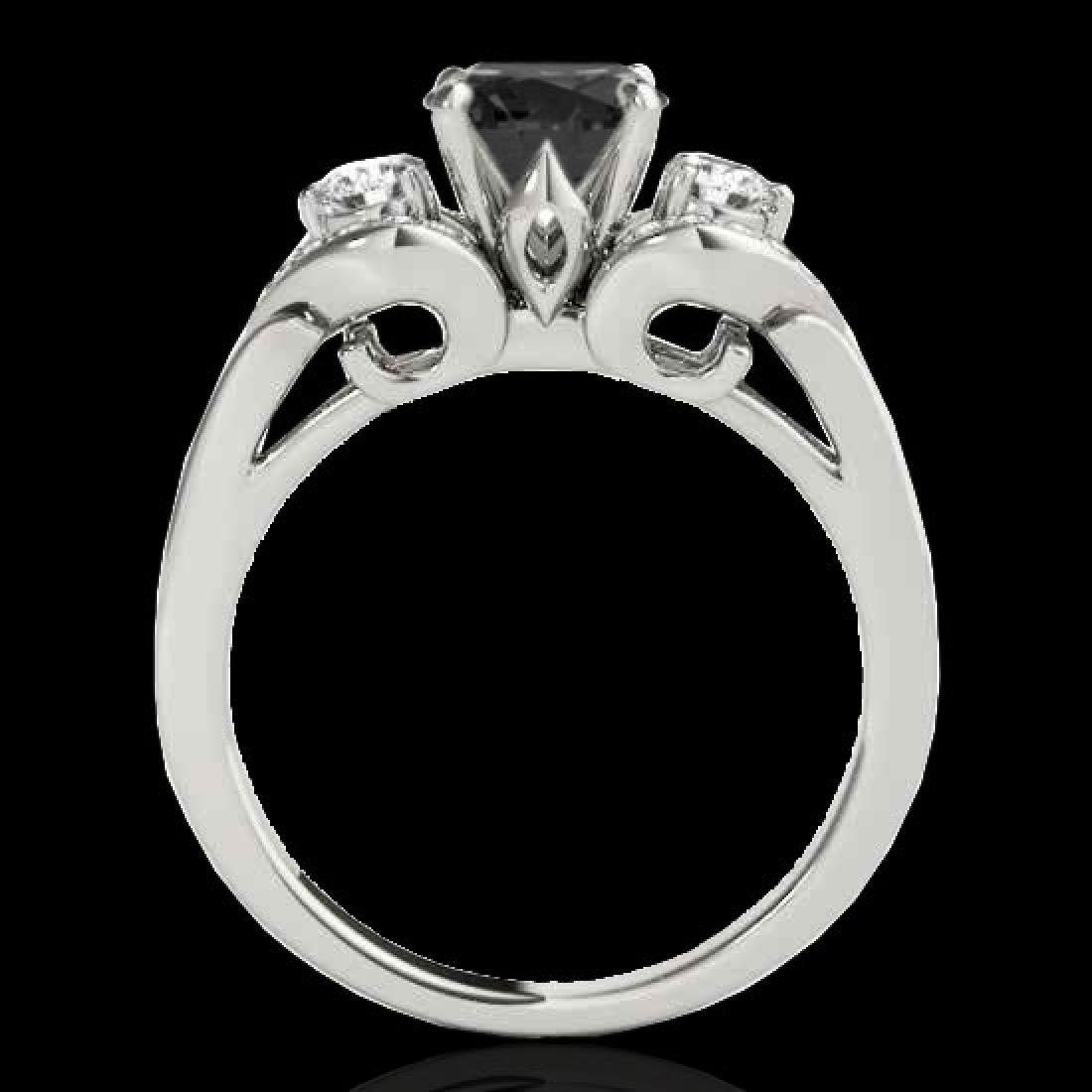 1.7 CTW Certified VS Black Diamond 3 Stone Ring 10K - 2