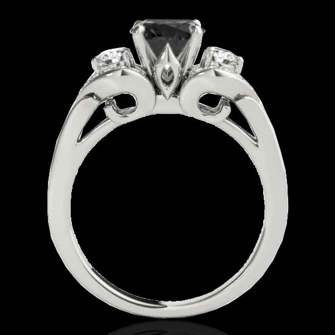 1.7 CTW Certified VS Black Diamond 3 Stone Ring 10K - 2