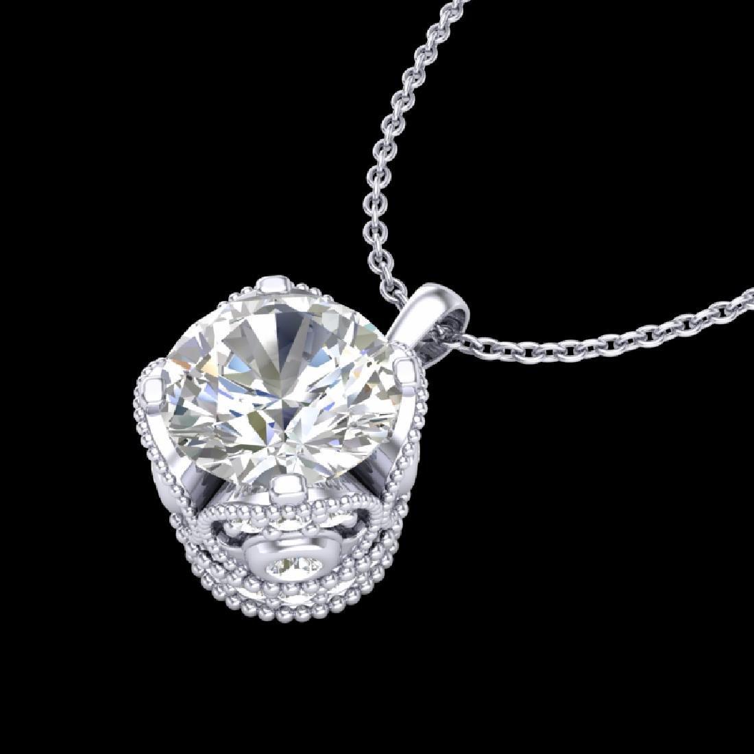 1.13 CTW VS/SI Diamond Solitaire Art Deco Stud Necklace