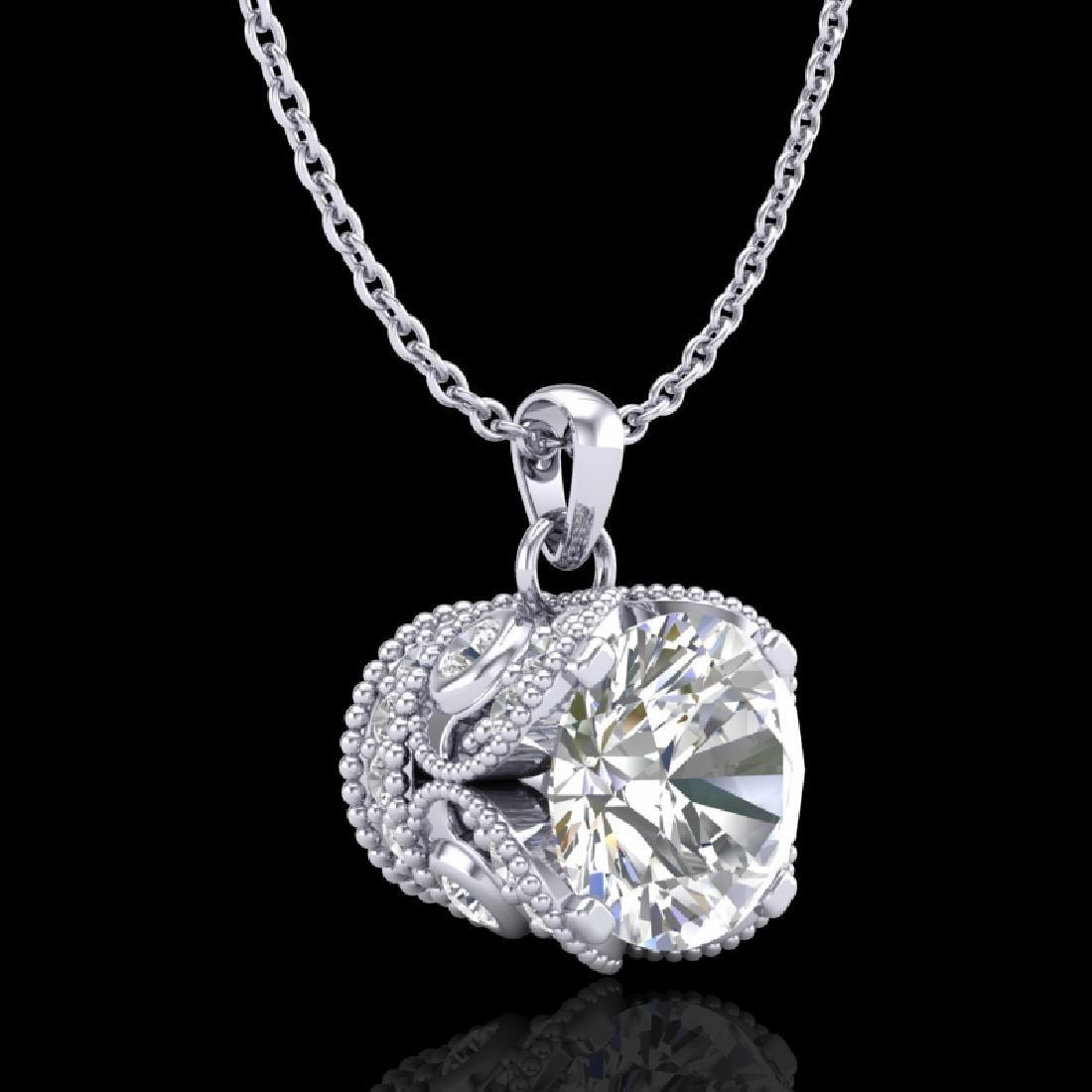 1.13 CTW VS/SI Diamond Solitaire Art Deco Stud Necklace - 2