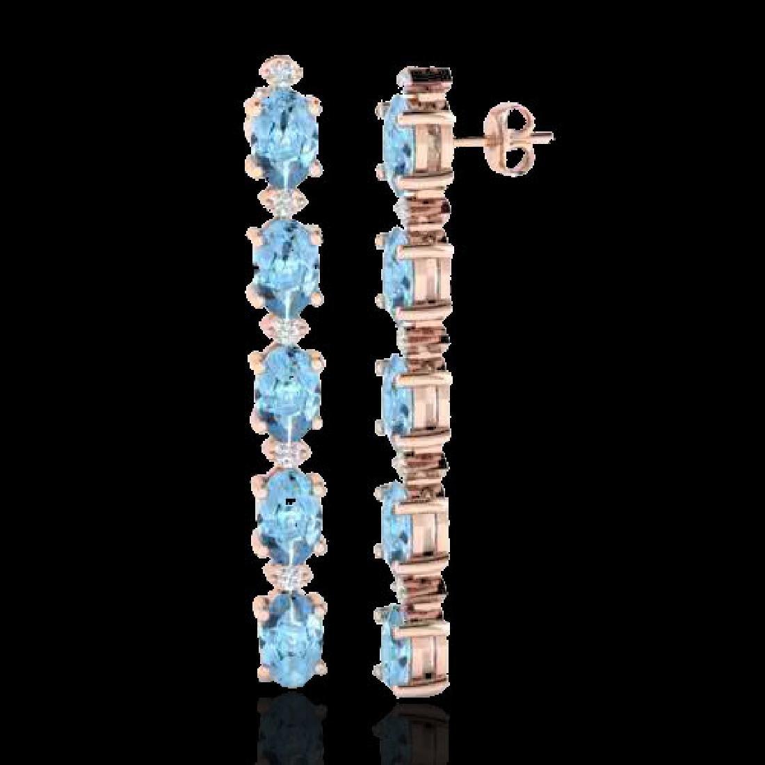5 CTW Aquamarine & VS/SI Diamond Tennis Earrings 10K - 2