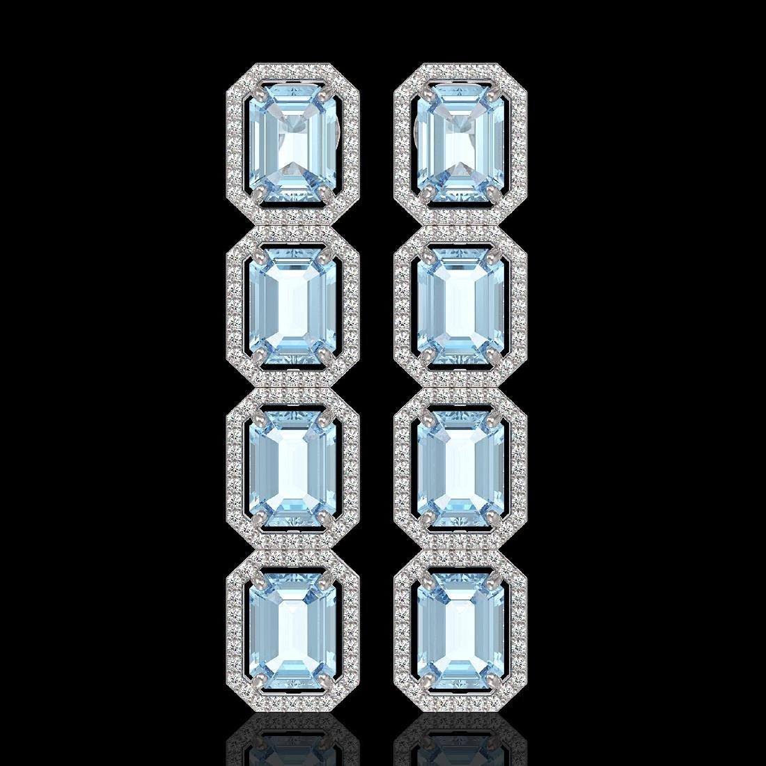 19.49 CTW Aquamarine & Diamond Halo Earrings 10K White