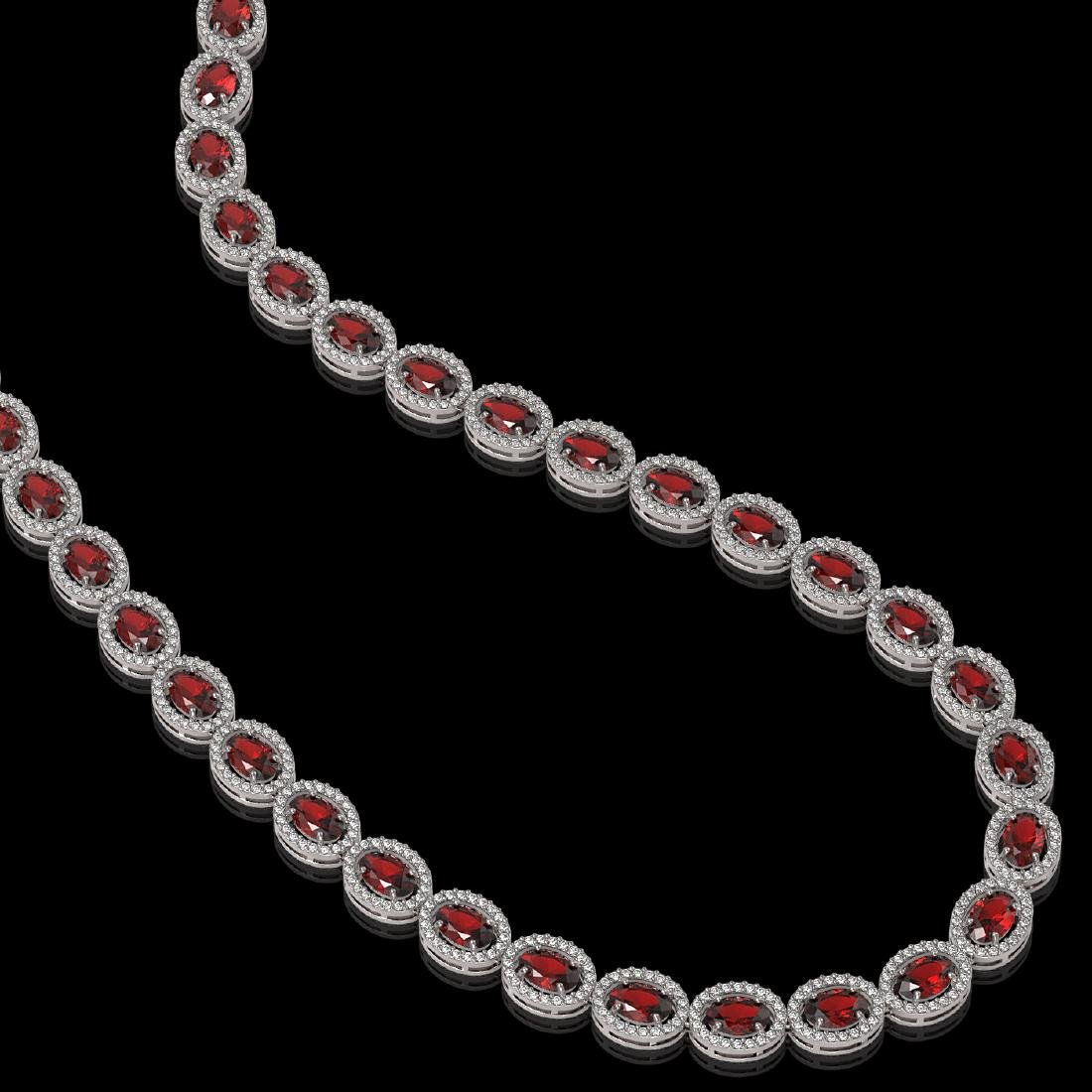 32.82 CTW Garnet & Diamond Halo Necklace 10K White Gold
