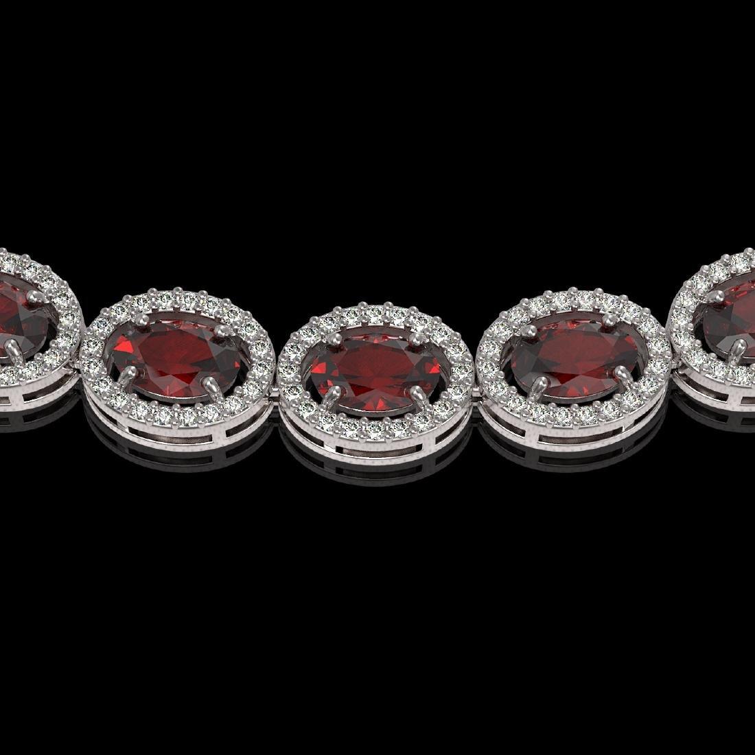 32.82 CTW Garnet & Diamond Halo Necklace 10K White Gold - 2
