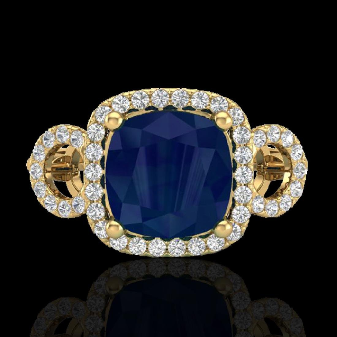 3.15 CTW Sapphire & Micro VS/SI Diamond Ring 18K Yellow