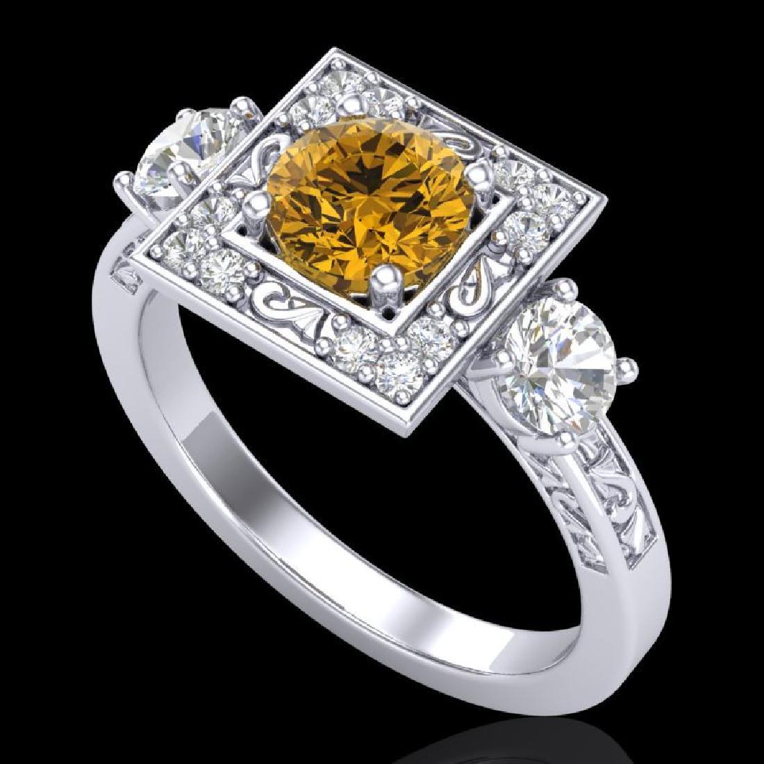 1.55 CTW Intense Fancy Yellow Diamond Art Deco 3 Stone
