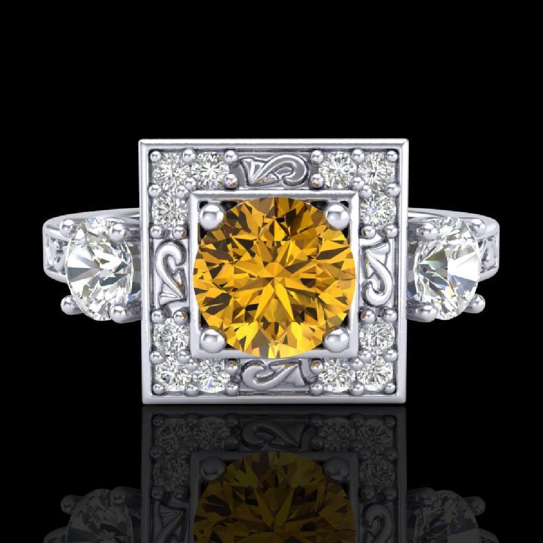 1.55 CTW Intense Fancy Yellow Diamond Art Deco 3 Stone - 2