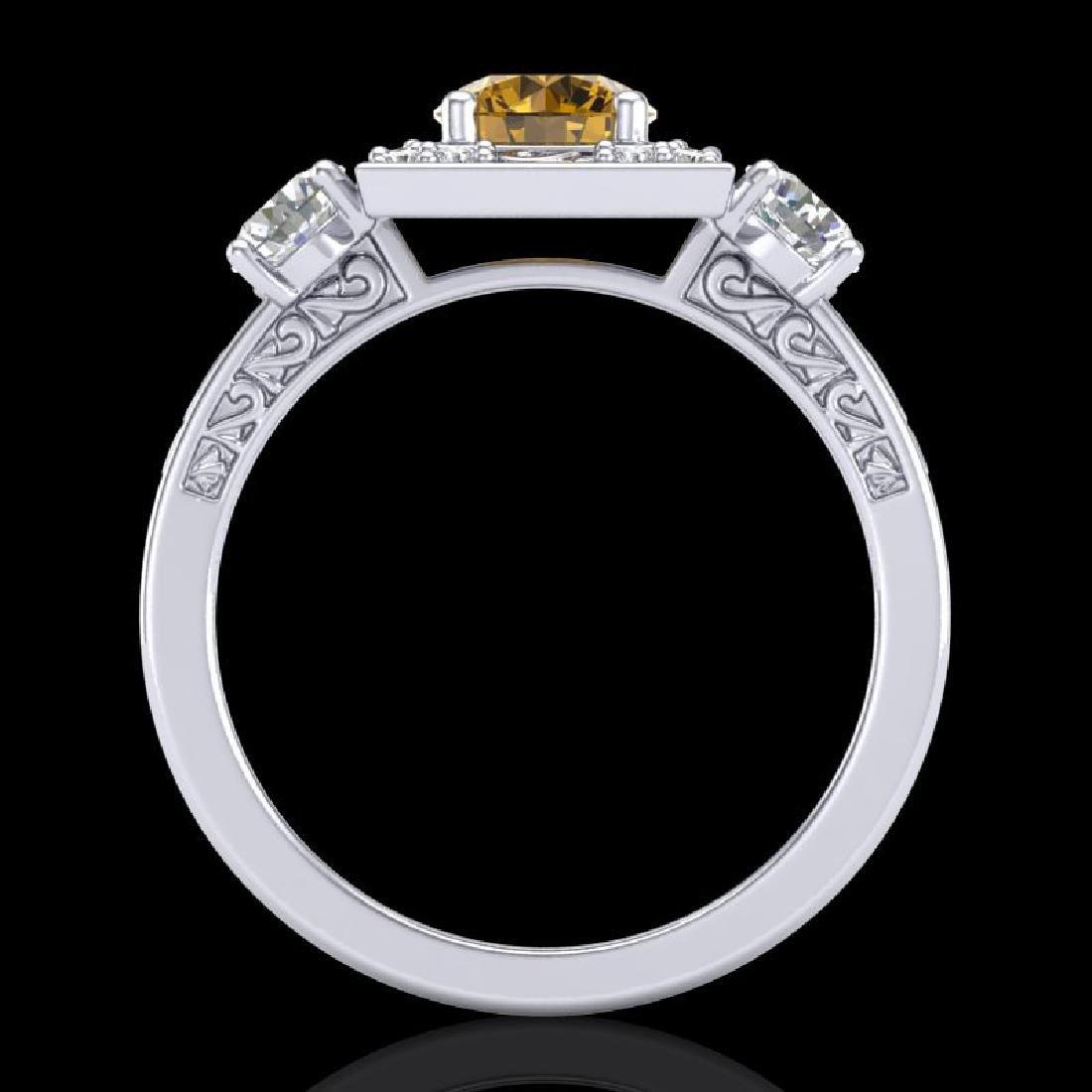 1.55 CTW Intense Fancy Yellow Diamond Art Deco 3 Stone - 3