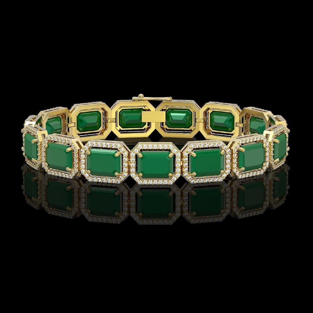 38.61 CTW Emerald & Diamond Halo Bracelet 10K Yellow
