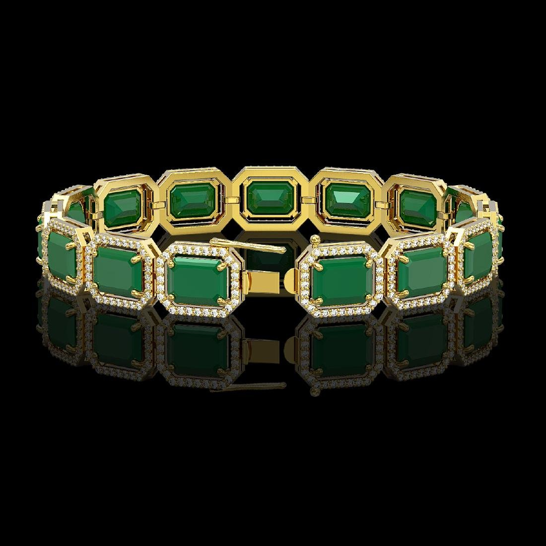 38.61 CTW Emerald & Diamond Halo Bracelet 10K Yellow - 2
