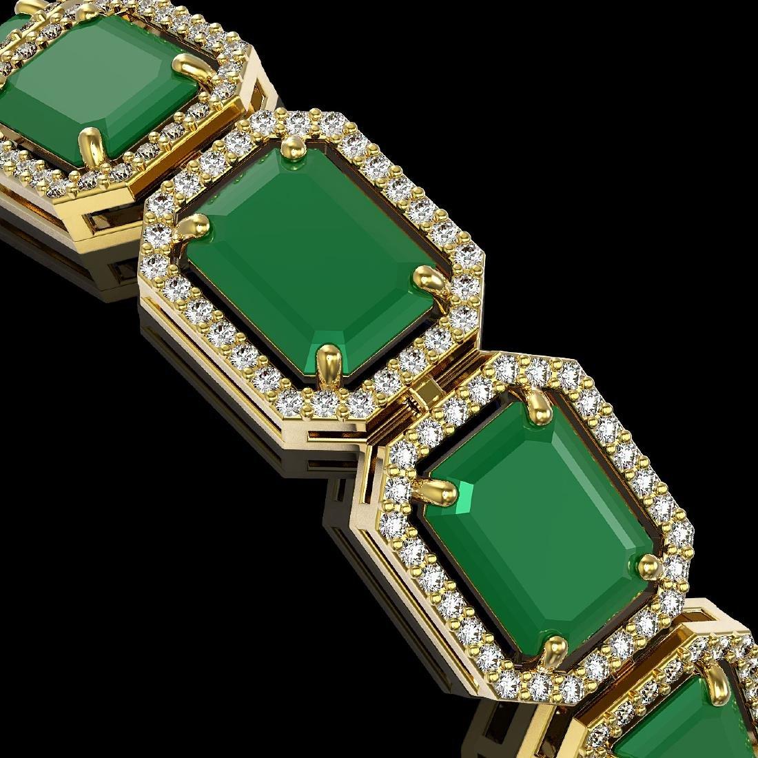 38.61 CTW Emerald & Diamond Halo Bracelet 10K Yellow - 3