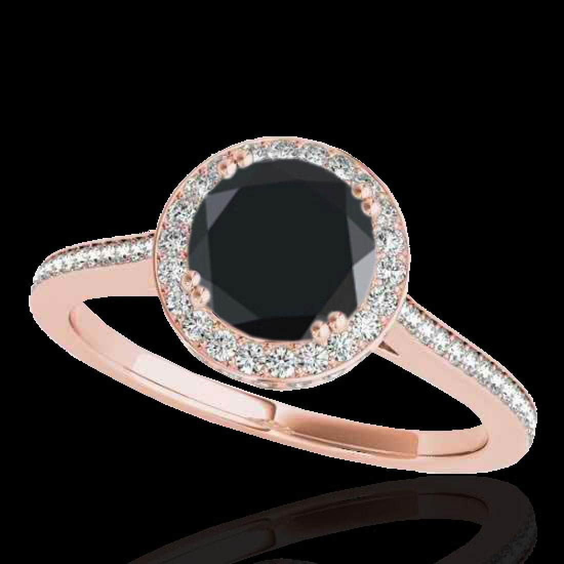 2.03 CTW Certified VS Black Diamond Solitaire Halo Ring