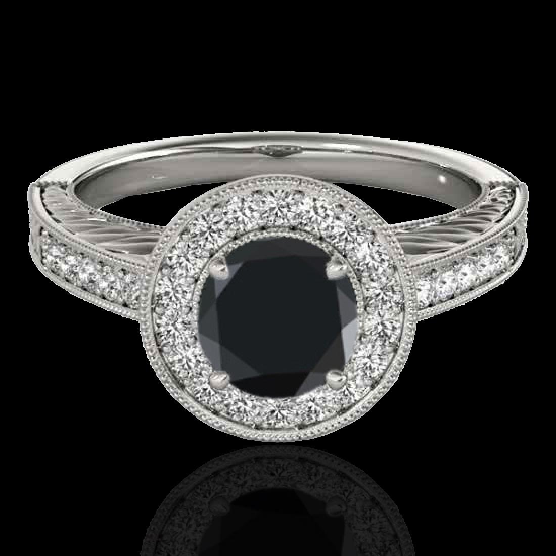 1.5 CTW Certified VS Black Diamond Solitaire Halo Ring