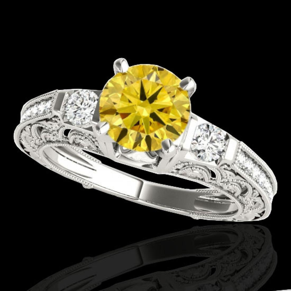 1.38 CTW Certified Si Intense Yellow Diamond Solitaire