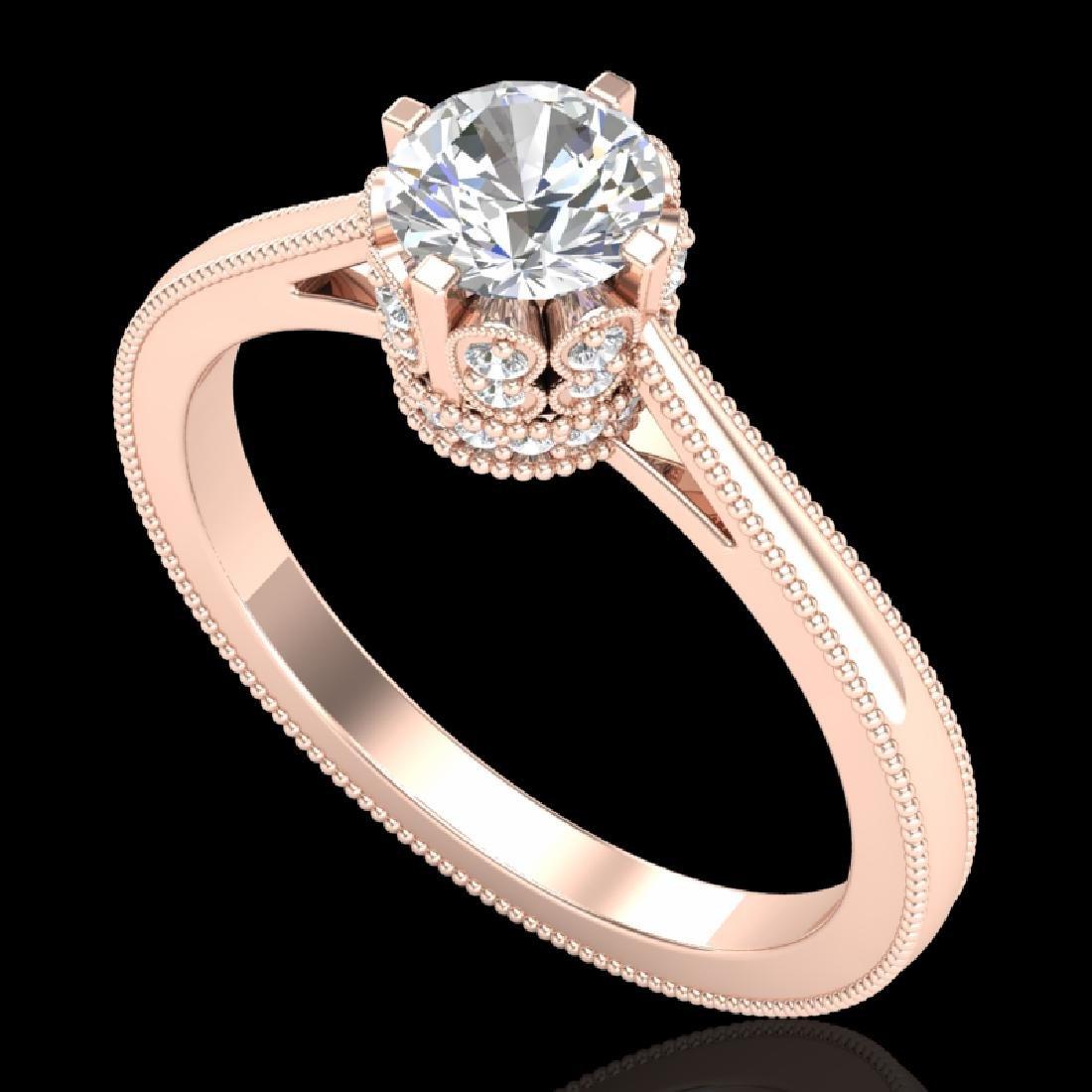 0.81 CTW VS/SI Diamond Solitaire Art Deco Ring 18K Rose