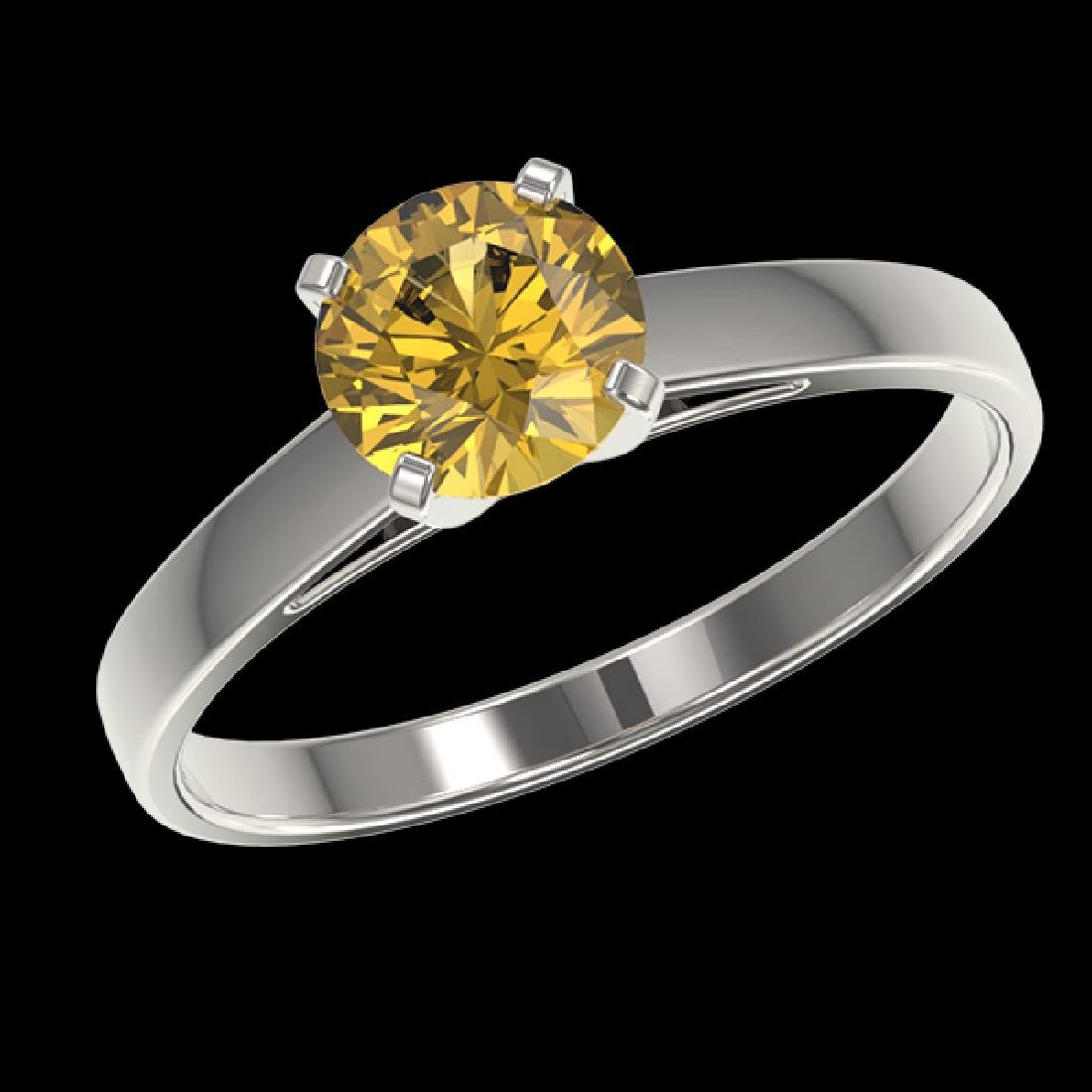 1 CTW Certified Intense Yellow SI Diamond Solitaire - 2