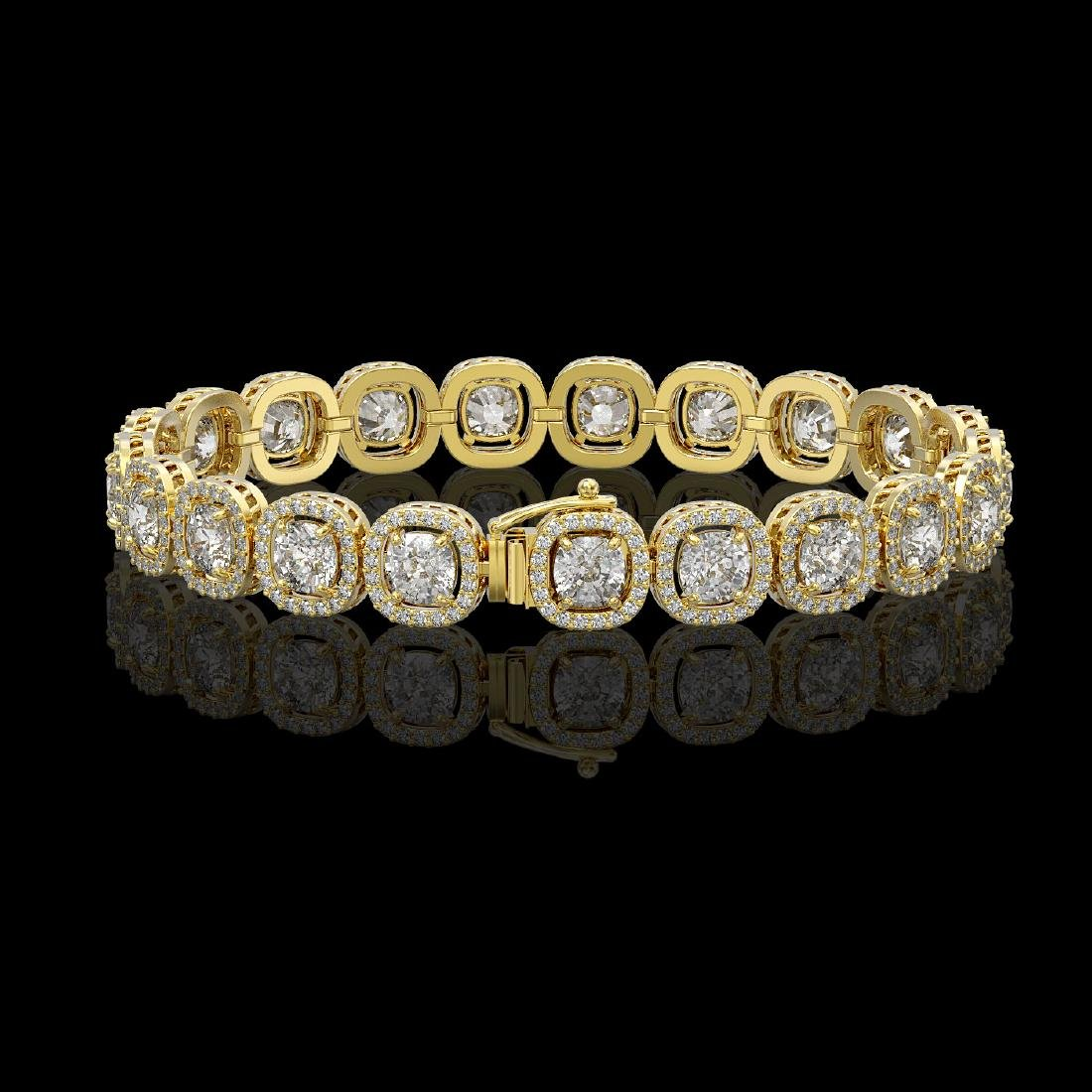 14.41 CTW Cushion Diamond Designer Bracelet 18K Yellow - 2