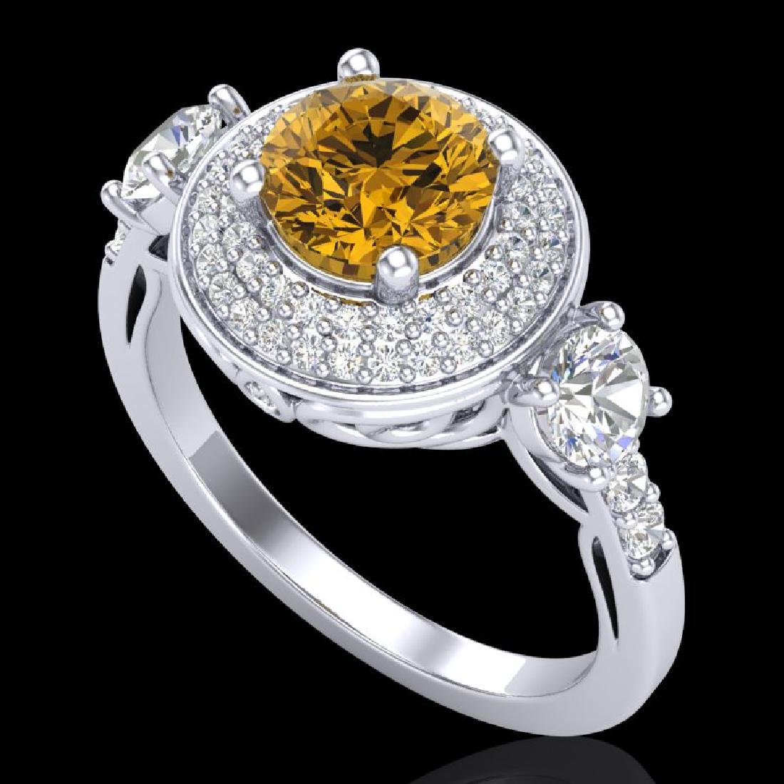 2.05 CTW Intense Fancy Yellow Diamond Art Deco 3 Stone