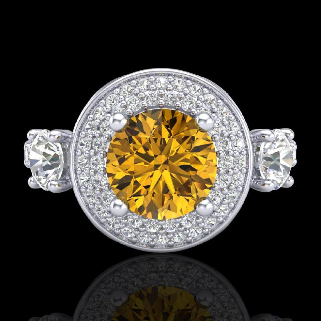 2.05 CTW Intense Fancy Yellow Diamond Art Deco 3 Stone - 2