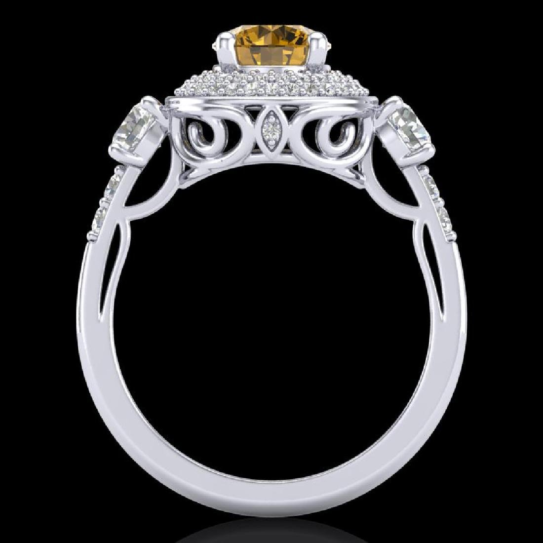 2.05 CTW Intense Fancy Yellow Diamond Art Deco 3 Stone - 3