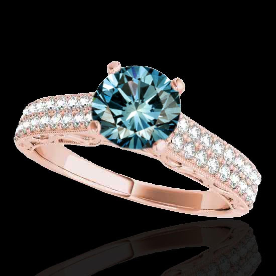 1.41 CTW SI Certified Blue Diamond Solitaire Antique