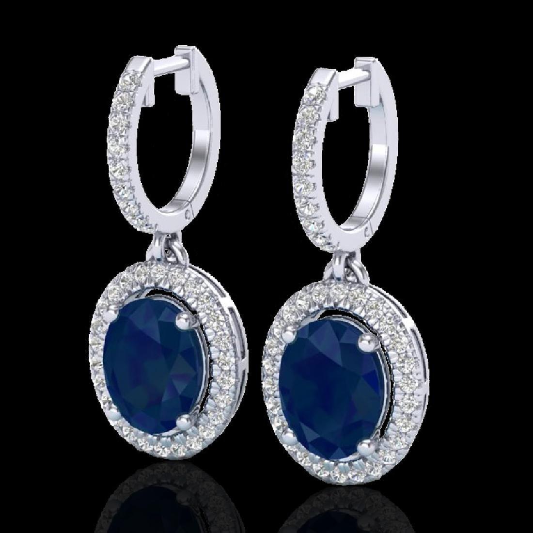4.25 CTW Sapphire & Micro Pave VS/SI Diamond Earrings