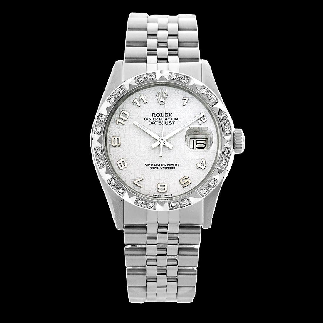Rolex Men's Stainless Steel, QuickSet, Arabic Dial with - 2