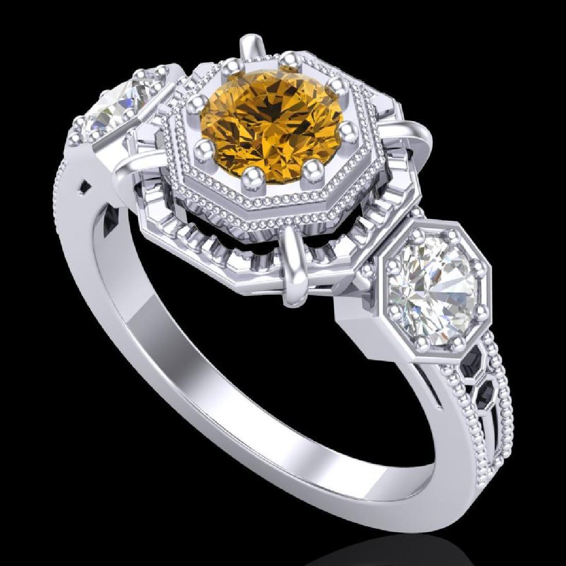 1.01 CTW Intense Fancy Yellow Diamond Art Deco 3 Stone